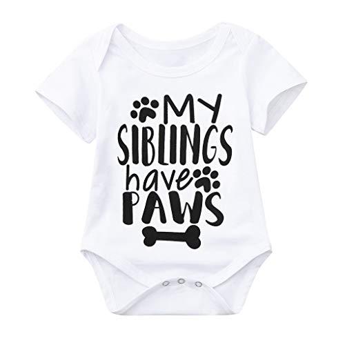 mer Baby Kurzarm mit My Siblings Brief Drucken Einteilige Tasche Furz Kleidung Strampler Kleidung Jungen & Mädchen Overall Strampler Bodysuit Sunsuit Kleidung ()