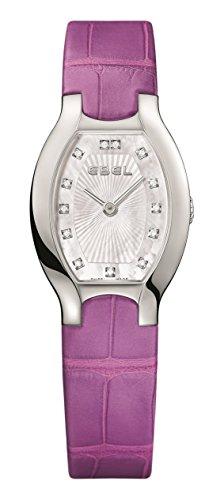 Ebel Beluga Tonneau Womens Mother-of-Pearl Face Diamond Purple Leather Strap Swiss Quartz Watch 1216245