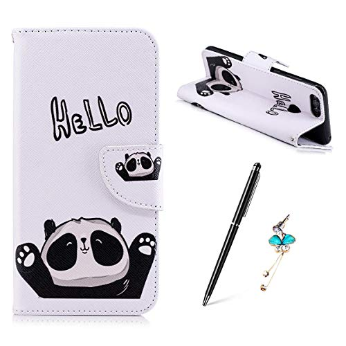 Huawei Honor 7X Hülle, Gemalt Muster Schutzhülle Lederhülle Magnetische Schnalle Premium PU Leder Flip HandyCase Brieftasche Kreditkarte Taschen Etui Handyhülle - HEELO Panda