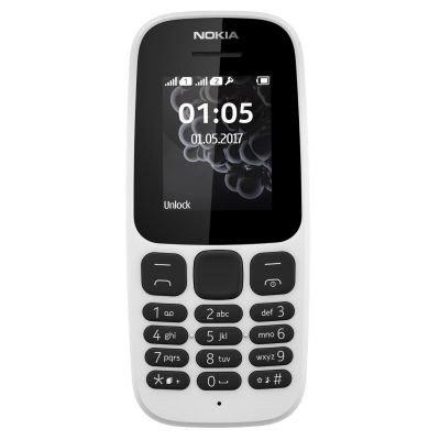Nokia 105 (2017) Mobiltelefon (4,6 cm (1,8 Zoll), 4 MB ROM, Dual-Sim), weiß