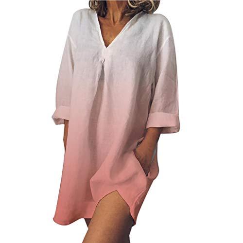 Damen Vintage Kleider Tops Frauen Plus Size V-Ausschnitt Easy Print Dye Farbverlauf Baumwolle und Leinen Kleid A-Linie Sommerkleider Strandkleid Knielang Rock T-Shirtkleid Blusenkleid (Easy Link Kostüm)