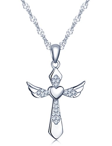Infinito U - Cross Necklaces for Women in Sterling Silver 925 Smart Necklaces with Design in Heart, Angel Wings and Cross
