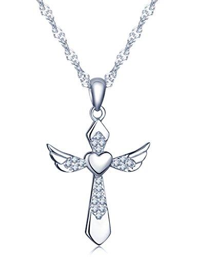 Unendlich U Fashion Kreuz Herz Engelsflügel Halskette 925 Sterling Silber Zirkonia Anhänger Kettenanhänger, Silber