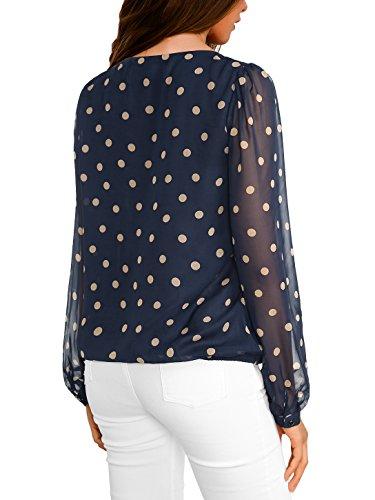WAJAT Bluse e Camicie Chiffon Polka Dot Donna Blu-Marrone