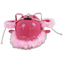 Casco para beber – Gorro plástico rosa con plumas, para dos bebidas, con pajitas