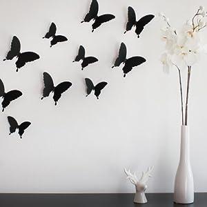 Wandkings Schmetterlinge im 3D-Style in SCHWARZ, 12 Stück, Wanddekoration mit Klebepunkten zur Fixierung