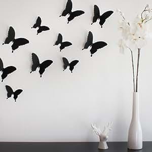 Wandkings 3D-10731 Schmetterlinge im 3D-Style, 12-Stück, Wanddekoration mit Klebepunkten zur Fixierung, schwarz