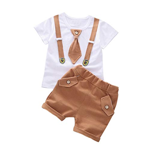 Julhold Sommer Kleinkind Kinder Baby Jungen Slim Fit Herren Kurzarm Fliege Baumwolle Tops T-Shirt + Shorts Set 2019Neu