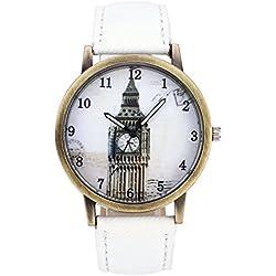 JSDDE Unisex Retro Bronze Case Big Ben Dial White Canvas Veins PU Leather Band Watch