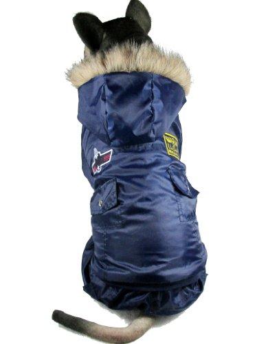 Abrigo Evergreens para perros estilo aviador americano, para perros medianos y grandes (azul)