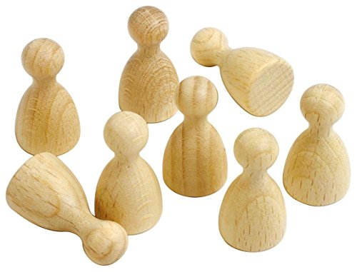 Spielfiguren aus Holz 28mm hoch natur Halmakegel Pöppel zum Bemalen Brettspiel Eleganca