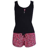 PRIMARK -:- sarcia.eu Black Sleeveless Top & Red, Leopard Print Shorts Pyjama Set for Ladies L