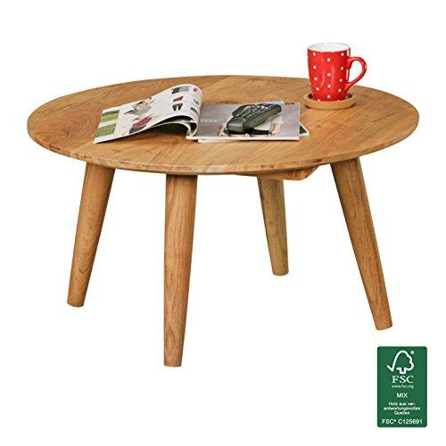 Landhaus-stil-wohnzimmer-möbel (FineBuy Couchtisch Massivholz Akazie | Wohnzimmertisch rund Ø75 x 40 cm | Beistelltisch mit 4 Beinen aus Naturholz Landhaus-Stil | Wohnzimmer-Möbel aus massivem Echtholz | Design Kaffeetisch modern)