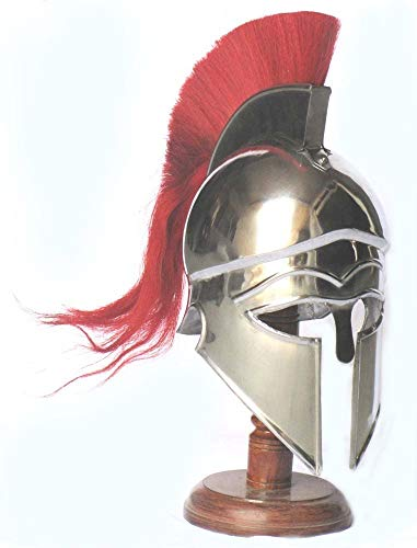 Shiv (TM Shakti Unternehmen Mittelalter Griechisch Corinthian Armour Helm mit Rot Plume Knight Spartan Helm Replica