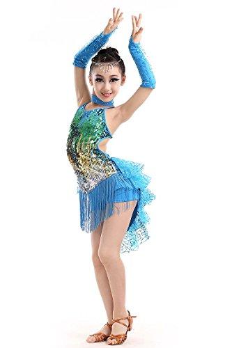 YI WORLD Kind Lateinischer Tanz Kostüme Mädchen Sequins Quaste Kleid blau schwarz rot , blue , 140cm (Zeitgenössischer Tanz Kostüme Schwarz)