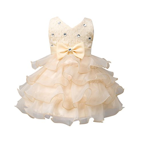 ESHOO Baby Mädchen Sequinned formale Partei-Geburtstag-Hochzeits-Brautjunfer-Prinzessin (Tanz Kostüme Beige)