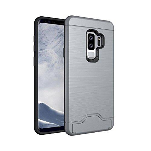 Edge Schreibtisch Shell (Prevently für Samsung S9 Plus Telefonkasten Carbonfaser eingefügt Callas Handy Shell Schlanke Kickstand Kreditkartenetui für Samsung Galaxy S9 5,8 Zoll (Grau))