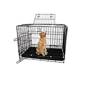 PSK PET MART Metal Dog Cage with Removable Tray (Black 36-inch)