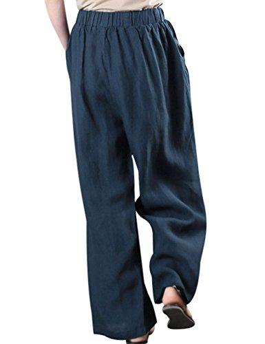 Youlee Damen Sommer Elastische Taille Farbblock Weites Bein Hose Blau