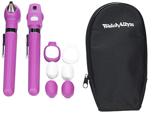 welch-allyn-pocket-led-set-mulberry-with-2-handles-soft-case-set-of-4-reusable-ear-tips-by-welch-all