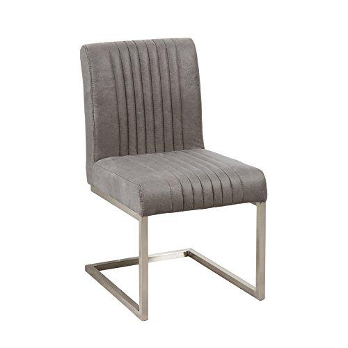 Edelstahl Freischwinger Stuhl BIG ASTON vintage grau Microfaser Bezug Esszimmer Stuhl