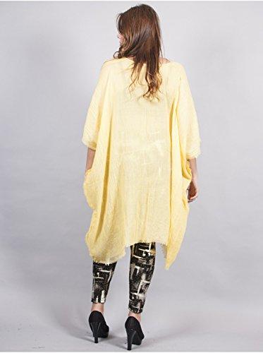 Vêtement Femme Grande Taille Tunique Longue Jaune Jaune