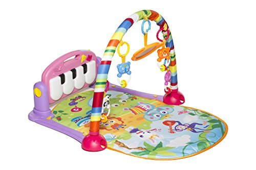 MooToys Kick and Play Newborn Toy with Piano for Baby 1-36 Month, Lay and Play, Sit and Play, Activity Toys, Play Mat Activity Gym for Baby. Pink (MT-108)