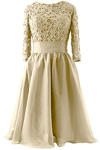MACloth Women 3/4 Sleeve Lace Short Mother of Bride Dress Formal Evening Gown Champagne