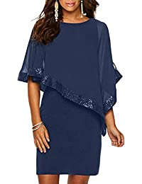 Ancapelion Sequined Overlay Cocktail Dress Chiffon Poncho Pencil Party Mini  Dress 342cdeedf7