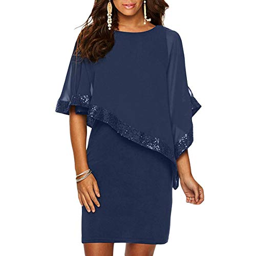 Damen Kleid Ärmellos Minikleid Chiffon Cocktailkleid Pailletten Pencil Partykleid Lässige Kleidung Abendkleid Frauenkleid Kleid für Frauen (Blau, L( EU 44-46))