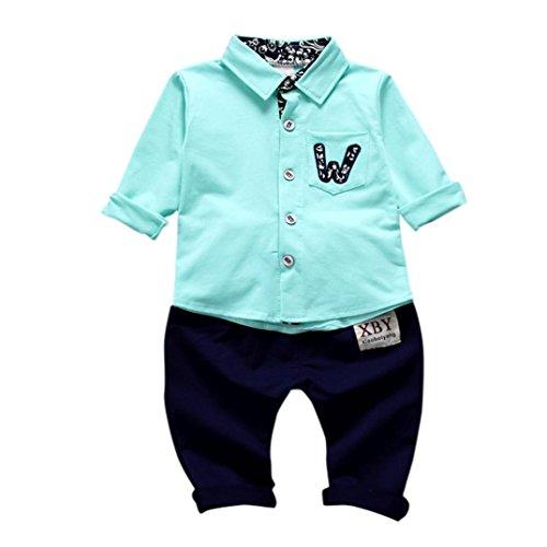 SUCES Bekleidung Baby Kinderkleidung für Mädchen Jungen Langarm Tops Shirt + Hosen 2Pcs Set Anzug Outfits Kleidung Zwei Stück Classic Kinder Jeans 2018 Frühling Kids Hooded Sweat (12M, Green) -