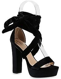 Damen Plateau Sandaletten | Peeptoes Party Schuhe | Pumps Blockabsatz High Heels |Satin Samt Strass Fransen | Flandell®