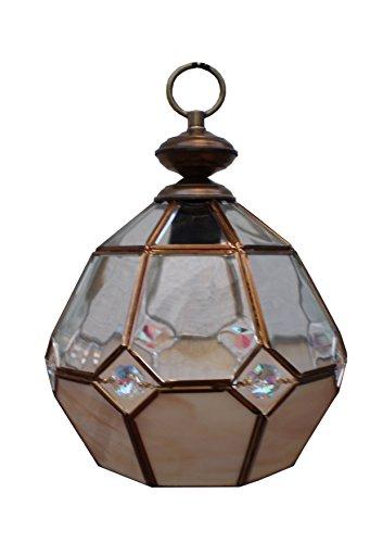 Farol estilo granadino. Colgante de vidrio artístico 1 luz E-27 oro viejo.23x20cm+cadena [Clase de eficiencia energética A+]