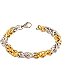 DzineTrendz Brass White And Yellow Gold Dual Tone Plated, Oval Link Stylish New Design Bracelet For Men Women