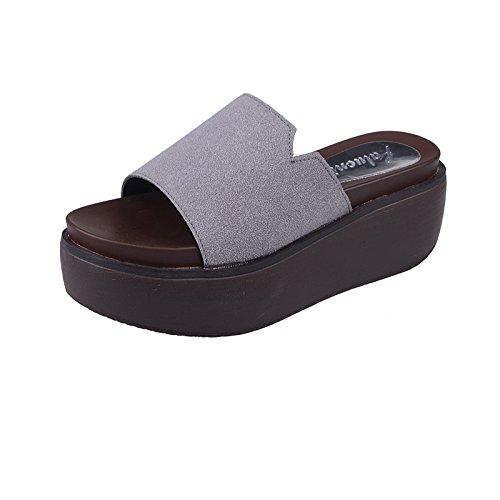 ZPPZZP Ms sandali pantofole uno studente selvaggi a tacco alto spessa Spiaggia 36EU