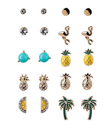 10er Set Ohrringe im Karibik-Style, funkelnde Strasssteine, Ananas, Zitrone und Palmen, klassische Stecker (787-771) ()
