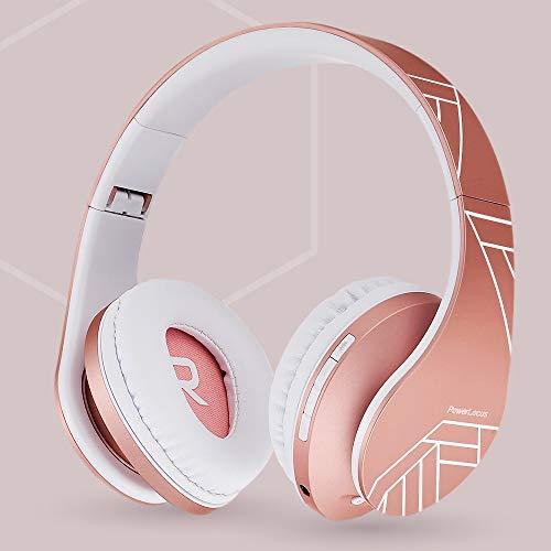 PowerLocus Bluetooth Over-Ear Kopfhörer, Kabellos Stereo Faltbare Kopfhörer Kabellose und Kabel-Kopfhörer mit Integriertem Mikrofon, Micro SD/TF, FM für Handys/iPad/Laptops & PC (Rose Gold) - 2