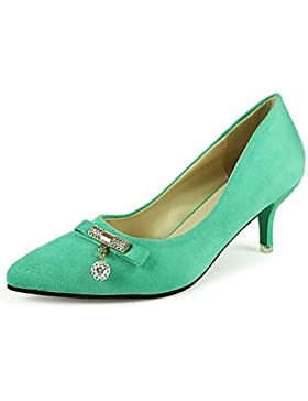 RTRY Donna Comfort Tacchi Estate Pu Dress Rhinestone Stiletto Heel Verde Nero Beige 3A-3 3/4In Verde Us7.5 / Eu38...