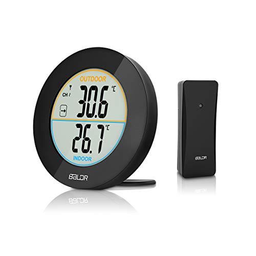 HOCOSY Thermomètre intérieur/extérieur, Détection de Température LCD Digital sans Fil Max/Min Rond Noir