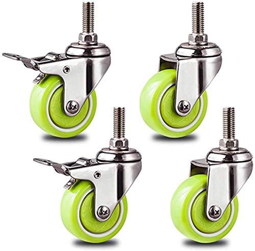 Knoijijuo Lenkrollen 1.5/2-Zoll-Rollen, Möbelrollen Mit M12-Bolzen Und Bremsen, Trolley-DIY-Halterungen, Sanft Und Leise (4er-Pack),2with+2without,5cm(2in)