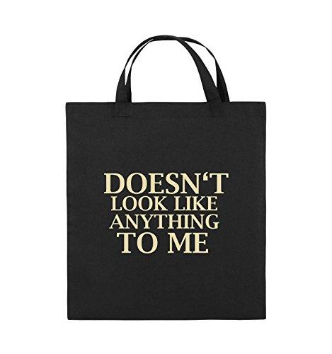 Comedy Bags - DOESN'T LOOK LIKE ANYTHING TO ME - Jutebeutel - kurze Henkel - 38x42cm - Farbe: Schwarz / Silber Schwarz / Beige