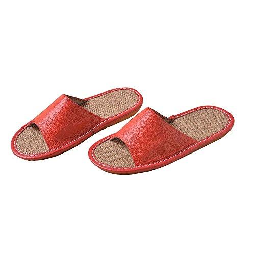 WANGXN Femme Pantoufles pantoufles d'été pantoufles de lin en cuir pantoufles antidérapant déodorant respirant intérieur big red