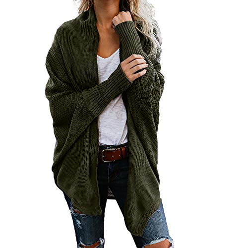 BHYDRY Womens Off The Shoulder Sweater beiläufige gestrickte lose Lange Hülsen-Pullover(EU-38/CN-L,Armeegrün)