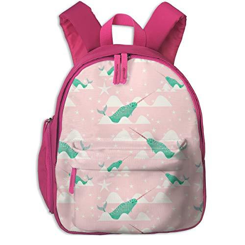 Zaino per bambini 2 anni,Narwhal menta e rosa Background_5717 - bruxamagica, per le scuole per bambini Oxford panno (rosa)