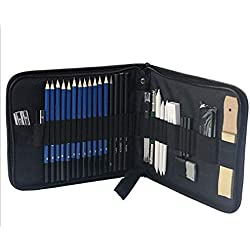Vvciic 35pcs / lot Sketch Dessin Ensemble d'outils métier Peinture Set Fournitures d'art Crayon bâton Gomme Crayon Couteau Extender Sharpener