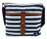 Damen-Sommer-Umhängetasche Baggy sommerlich-trendig im Marine-Look mit blau-weißen Blockstreifen