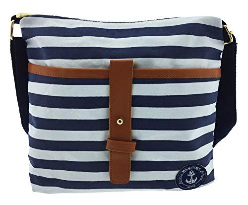 1c99bd04d786d Damen-Sommer-Umhängetasche Baggy sommerlich-trendig im Marine-Look mit blau-