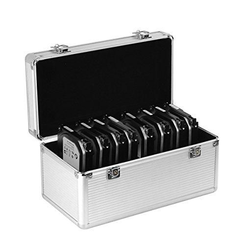 GLOTRENDS B86 Festplatten Schutzkoffer 14-Festplattenlaufwerke (8*3,5 Zoll + 6*2.5 Zoll) Schutz- und Transportkoffer aus Aluminium mit Schaumstoff Schutzgehäuse