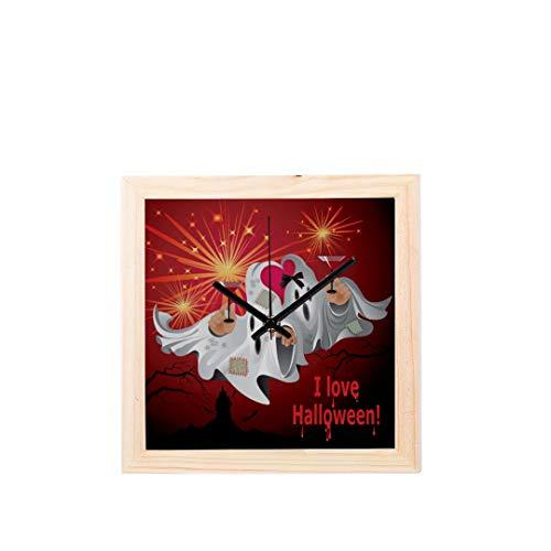 ween Creep Fun Ghost Nicht tickt Platz Stille Holz Diamant Große Display Digital Batterie Wanduhren Malerei Zifferblatt Für Küche Kind Schlafzimmer Home Office Decor ()