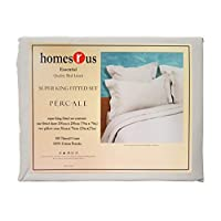Homes r us Percale Super King Fitted Sheet Set, Pearl - 200 x 220 cm
